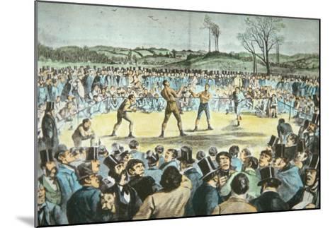 Tom Sayers V. John Heenan at Farnborough, England on 17th April, 1860-English School-Mounted Giclee Print