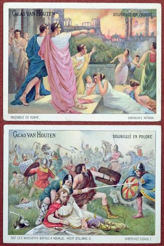 Cards for Children Advertising 'Cacao Van Houten', Early 20th Century-French School-Stretched Canvas Print