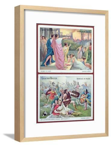 Cards for Children Advertising 'Cacao Van Houten', Early 20th Century-French School-Framed Art Print
