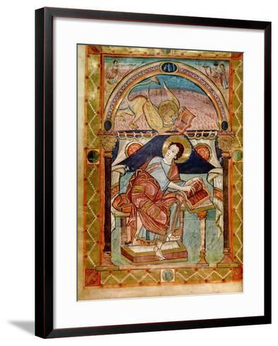 Lat 8850 F.81V St. Mark, French, from the Court School of Charlemagne-French School-Framed Art Print