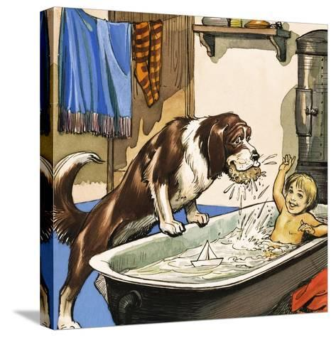 Nana Baths Michael, Illustration from 'Peter Pan' by J.M. Barrie-Nadir Quinto-Stretched Canvas Print