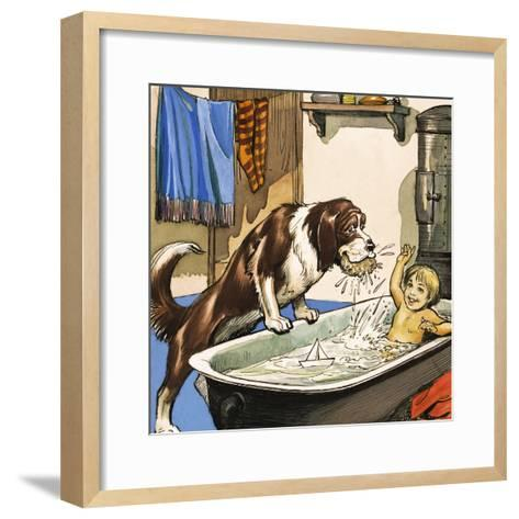 Nana Baths Michael, Illustration from 'Peter Pan' by J.M. Barrie-Nadir Quinto-Framed Art Print