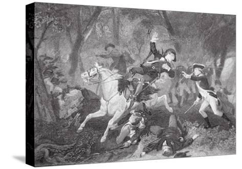 Death of Patrick Ferguson at the Battle of King's Mountain, 7 October 1780-American School-Stretched Canvas Print