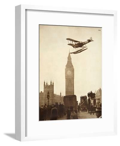 Alan Cobham Coming in to Land on the Thames at Westminster, London, 1926-English Photographer-Framed Art Print