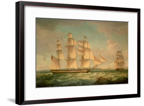 Merchantmen in a Stiff Breeze Off the Cliffs of Dover-Thomas Whitcombe-Framed Art Print