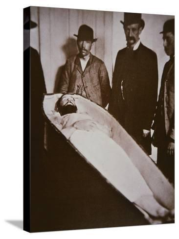 Jesse James in His Coffin after Being Shot Dead in 1882-American Photographer-Stretched Canvas Print
