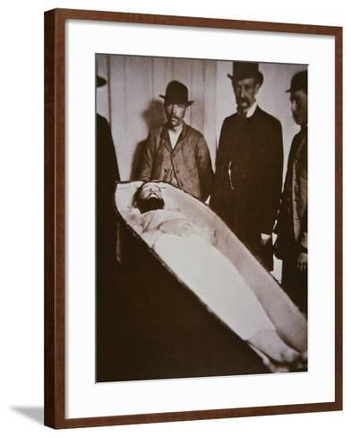 Jesse James in His Coffin after Being Shot Dead in 1882-American Photographer-Framed Art Print