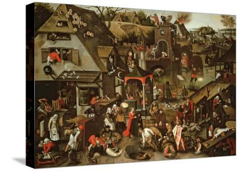 Netherlandish Proverbs Illustrated in a Village Landscape-Pieter Brueghel the Younger-Stretched Canvas Print