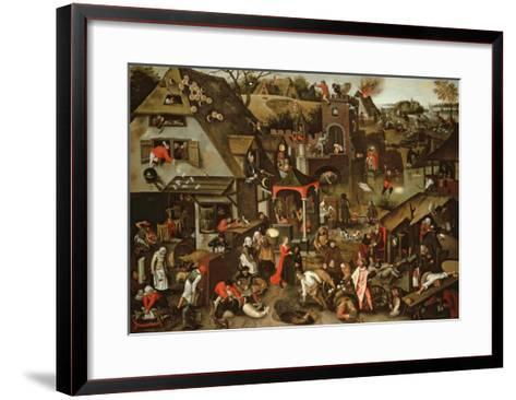 Netherlandish Proverbs Illustrated in a Village Landscape-Pieter Brueghel the Younger-Framed Art Print