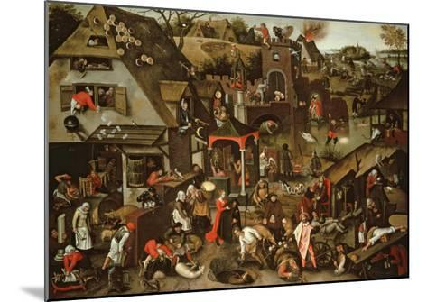 Netherlandish Proverbs Illustrated in a Village Landscape-Pieter Brueghel the Younger-Mounted Giclee Print