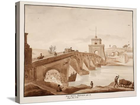 The Restoration of Ponte Milvio by Pope Pius Vii, 1833-Agostino Tofanelli-Stretched Canvas Print