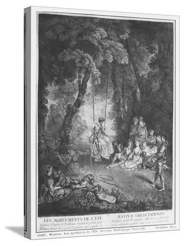 The Pleasures of Summer, Engraved by Francois Joullain-Jean Antoine Watteau-Stretched Canvas Print