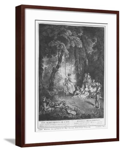 The Pleasures of Summer, Engraved by Francois Joullain-Jean Antoine Watteau-Framed Art Print