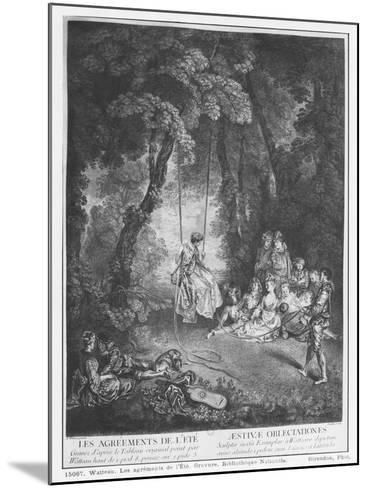 The Pleasures of Summer, Engraved by Francois Joullain-Jean Antoine Watteau-Mounted Giclee Print