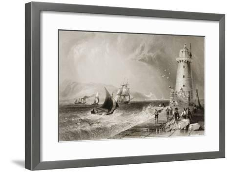 South Wall Lighthouse with Howth Hill in the Distance, Dublin-William Henry Bartlett-Framed Art Print