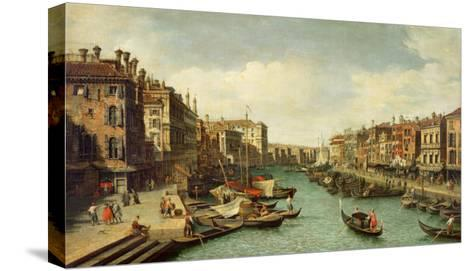 The Grand Canal Near the Rialto Bridge, Venice, C.1730-Canaletto-Stretched Canvas Print