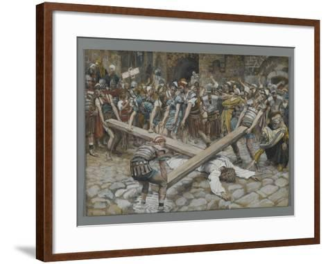 Simon the Cyrenian Compelled to Carry the Cross with Jesus-James Tissot-Framed Art Print