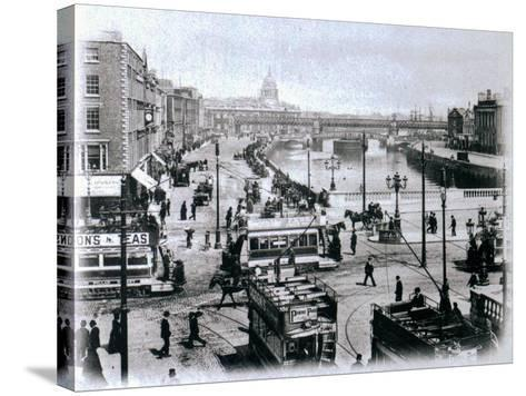 O' Connell Bridge and the River Liffey, Dublin, C.1900-Irish Photographer-Stretched Canvas Print