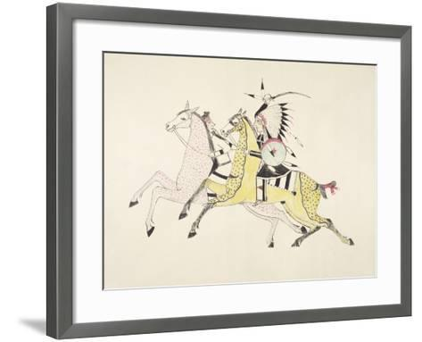 Sioux Warrior Armed with Sabre Attacking a Crow Indian-Kills Two-Framed Art Print