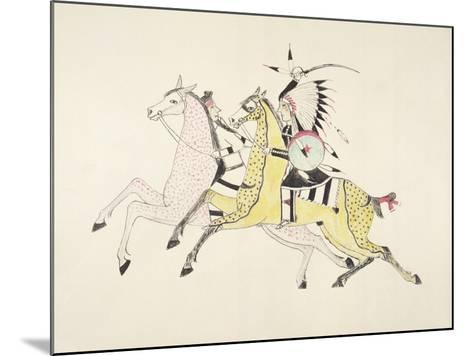 Sioux Warrior Armed with Sabre Attacking a Crow Indian-Kills Two-Mounted Giclee Print