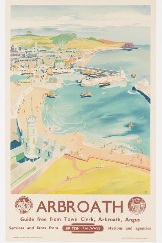 Arbroath, Poster Advertising British Railways, C.1950-English School-Stretched Canvas Print
