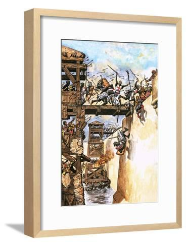 English Soldiers Attacking a City During the Crusades-English School-Framed Art Print