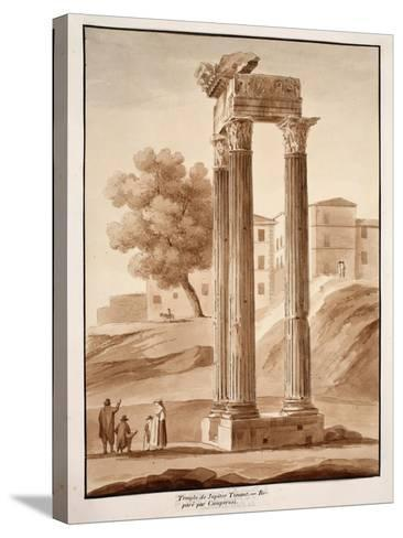 The Temple of Jupiter Tonans - Restored by Camporesi, 1833-Agostino Tofanelli-Stretched Canvas Print