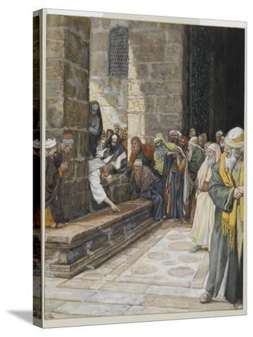 The Adulterous Woman - Christ Writing Upon the Ground-James Tissot-Stretched Canvas Print