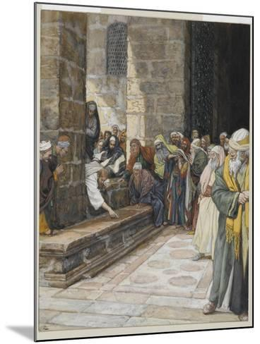 The Adulterous Woman - Christ Writing Upon the Ground-James Tissot-Mounted Giclee Print