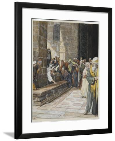 The Adulterous Woman - Christ Writing Upon the Ground-James Tissot-Framed Art Print