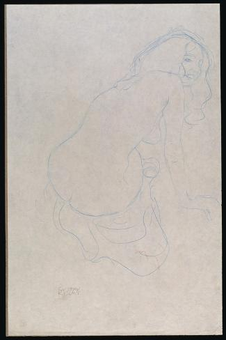 Woman Leaning to the Right with Long Hair, C.1910-11-Gustav Klimt-Stretched Canvas Print