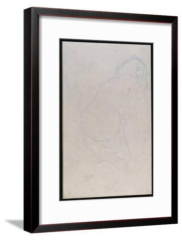 Woman Leaning to the Right with Long Hair, C.1910-11-Gustav Klimt-Framed Art Print