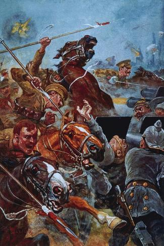 The Charge of the 9th Lancers During the Retreat from Mons-Stanley L^ Wood-Stretched Canvas Print