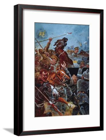 The Charge of the 9th Lancers During the Retreat from Mons-Stanley L^ Wood-Framed Art Print