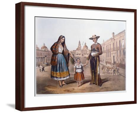 Mexican Family in Plaza Santo Domingo, Mexico City, C.1840-German School-Framed Art Print