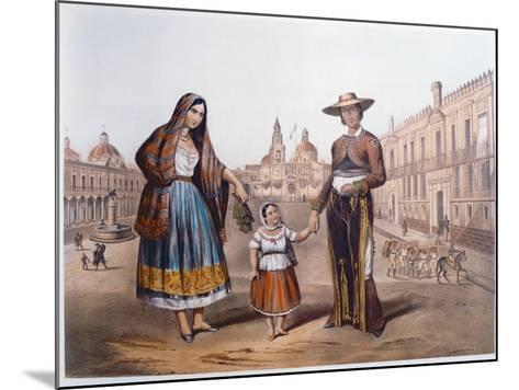 Mexican Family in Plaza Santo Domingo, Mexico City, C.1840-German School-Mounted Giclee Print