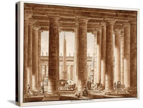 The Colonnade of St. Peter's Square, Seen from Outside, 1833-Agostino Tofanelli-Stretched Canvas Print