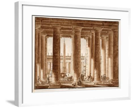 The Colonnade of St. Peter's Square, Seen from Outside, 1833-Agostino Tofanelli-Framed Art Print