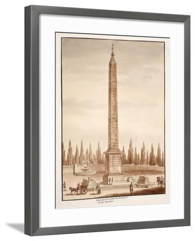 The Piazza Del Popolo Obelisk, from the Circus Maximus, 1833-Agostino Tofanelli-Framed Art Print
