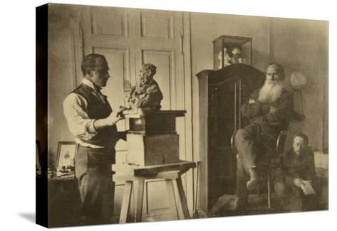 Leo Tolstoy and the Sculptor Prince Paolo Troubetzkoy-Sophia Andreevna Tolstaya-Stretched Canvas Print