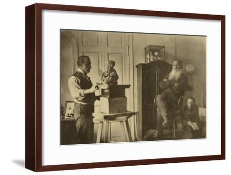 Leo Tolstoy and the Sculptor Prince Paolo Troubetzkoy-Sophia Andreevna Tolstaya-Framed Art Print