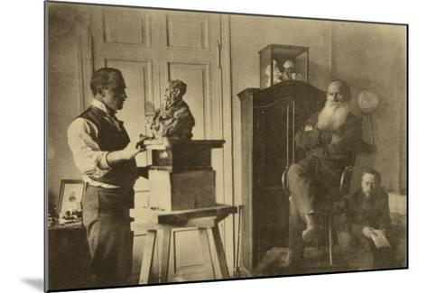 Leo Tolstoy and the Sculptor Prince Paolo Troubetzkoy-Sophia Andreevna Tolstaya-Mounted Giclee Print