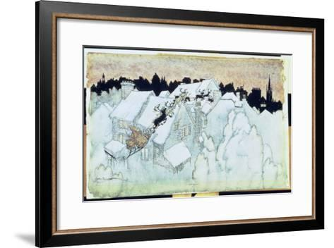 So Up to the House-Top the Coursers They Flew'-Arthur Rackham-Framed Art Print