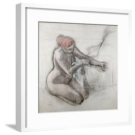 Nude Woman Drying Herself after the Bath, C.1898-Edgar Degas-Framed Art Print
