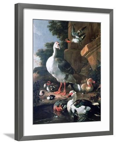 Waterfowl in a Classical Landscape, 17th Century-Melchior de Hondecoeter-Framed Art Print