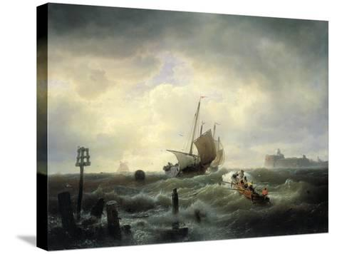 The Entrance to the Harbour at Hellevoetsluys, 1850-Andreas Achenbach-Stretched Canvas Print