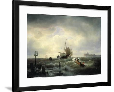 The Entrance to the Harbour at Hellevoetsluys, 1850-Andreas Achenbach-Framed Art Print
