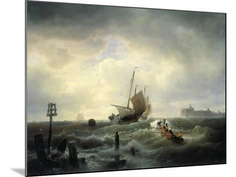 The Entrance to the Harbour at Hellevoetsluys, 1850-Andreas Achenbach-Mounted Giclee Print