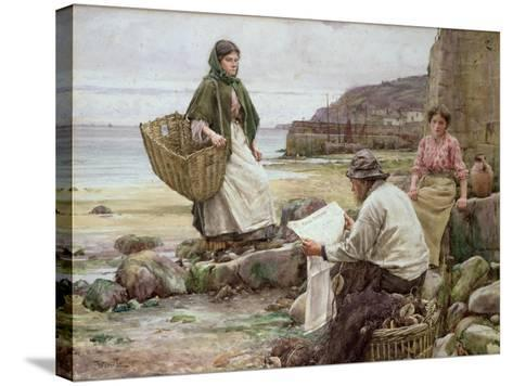 Newlyn: Catching Up with the Cornish Telegraph-Walter Langley-Stretched Canvas Print