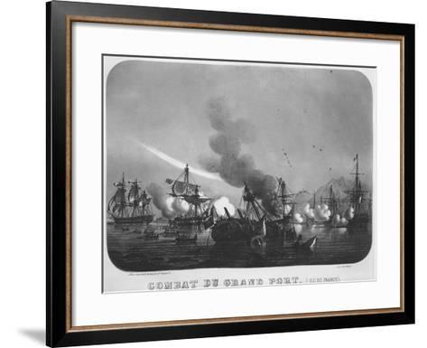 Naval Battle of Grand Port, Mauritius, in 1810-Louis Le Breton-Framed Art Print